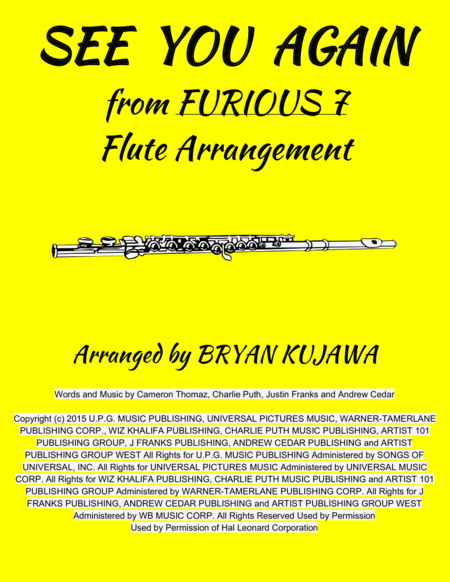 See You Again from FURIOUS 7 - Flute Solo