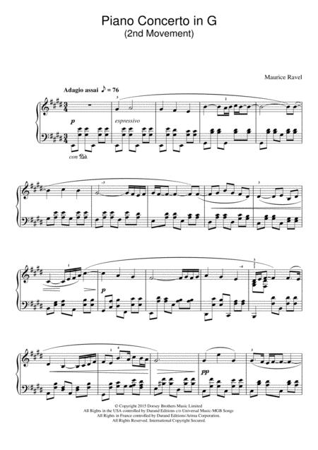 Piano Concerto In G, 2nd Movement 'Adagio Assai'