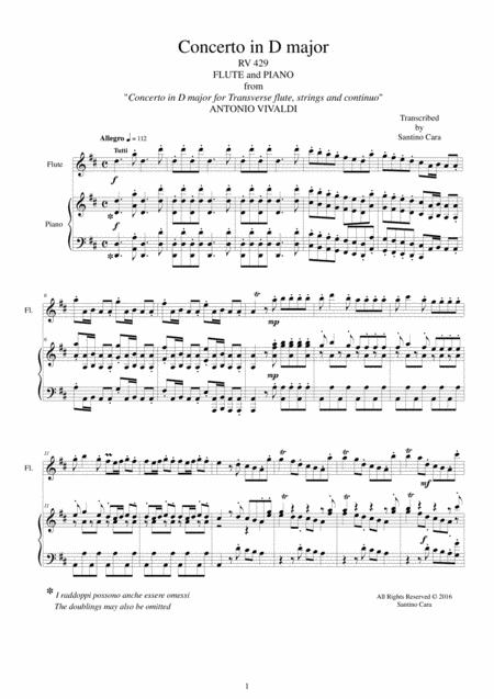 Vivaldi - Concerto in D major RV 429  for Flute and Piano
