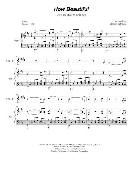 How Beautiful (for Saxophone Quintet)