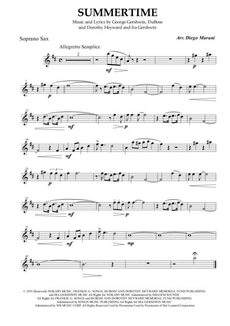 Summertime for Saxophone Quartet