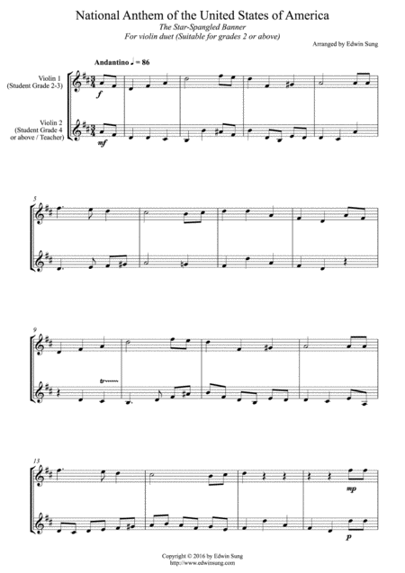 National Anthem of the United States of America (for violin duet, suitable for grades 2-5)