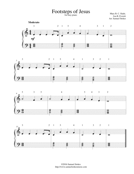 Footsteps of Jesus - for easy piano