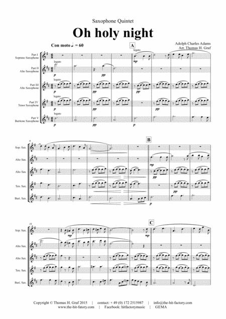 Oh holy night - Cantique de Noël - Christmas Song - Saxophone Quintet