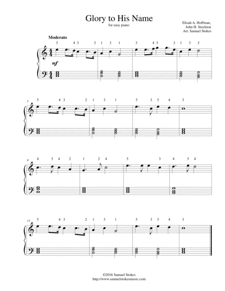 Glory to His Name (Down at the Cross Where my Savior Died)  - for easy piano