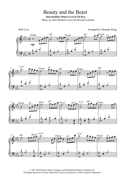 Download Beauty And The Beast - 2017 Intermediate Piano Solo In Eb (With Chords) Sheet Music By ...