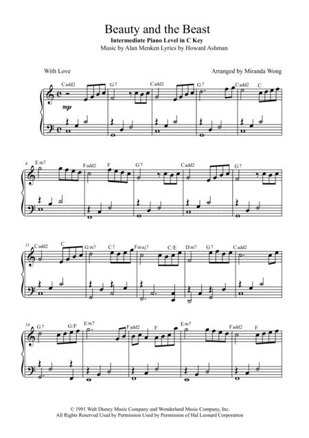 Beauty And The Beast - Children Piano Solo in C Key (With Chords)