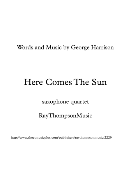 The Beatles: Here Comes The Sun - saxophone quartet