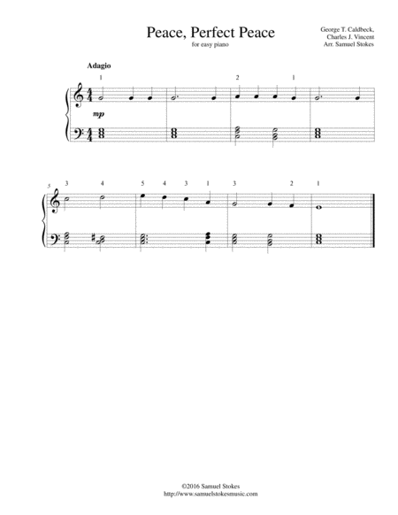 Peace, Perfect Peace - for easy piano