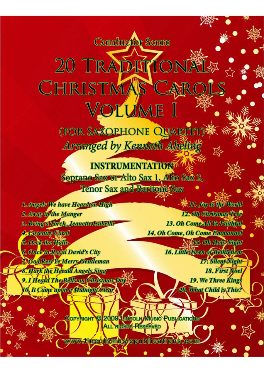 Christmas - 20 Traditional Christmas Carols Volume I (for Saxophone Quartet SATB or AATB)