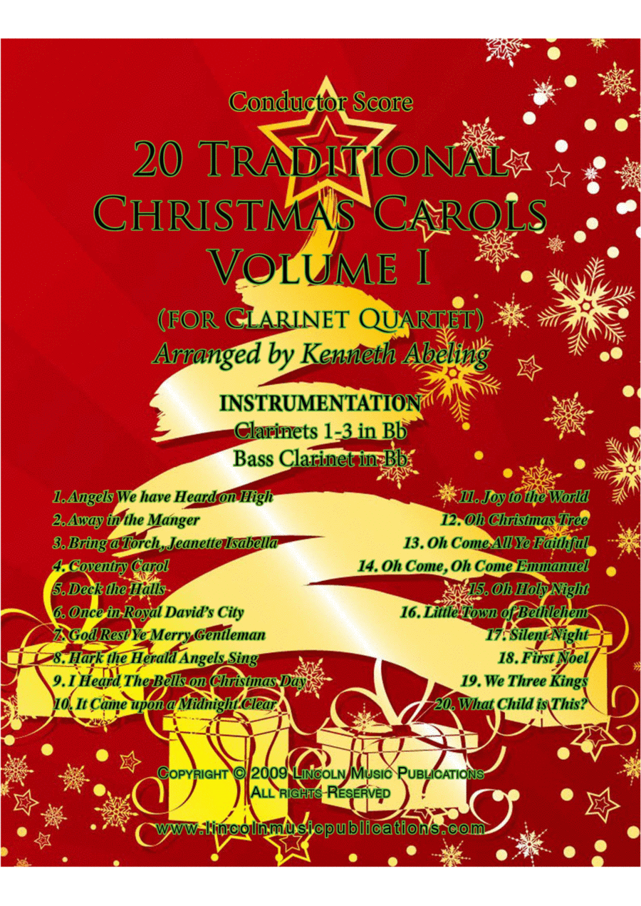 Christmas - 20 Traditional Christmas Carols Volume I (for Clarinet Quartet)