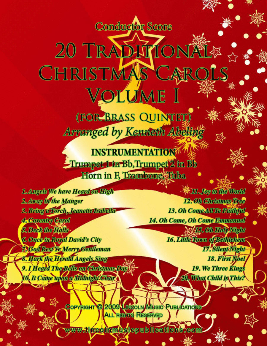Christmas - 20 Traditional Christmas Carols Volume I (for Brass Quintet)