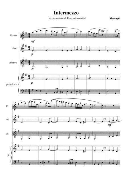 Intermezzo from Cavalleria Rusticana for quartet