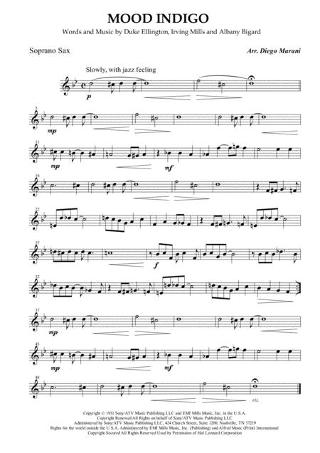 Mood Indigo for Saxophone Quartet
