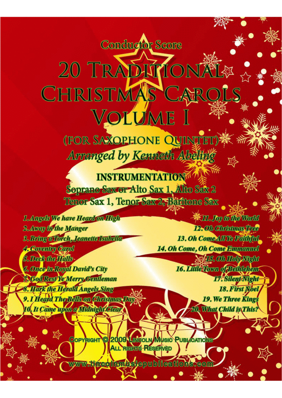 Christmas - 20 Traditional Christmas Carols Volume I (for Saxophone Quintet SATTB or AATTB)