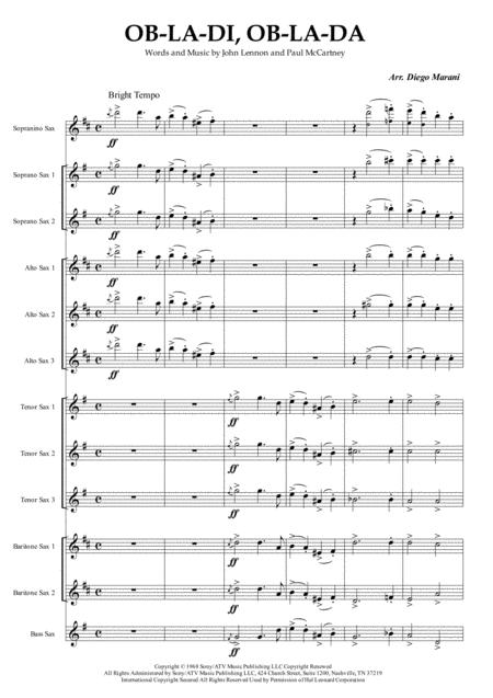 Ob-La-Di, Ob-La-Da for Saxophone Ensemble
