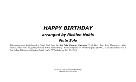 HAPPY BIRTHDAY arranged for solo flute