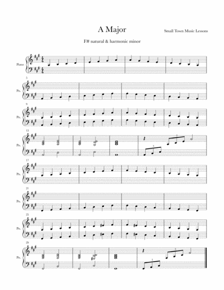 Piano Exercise Sheet = A Major & F# minor