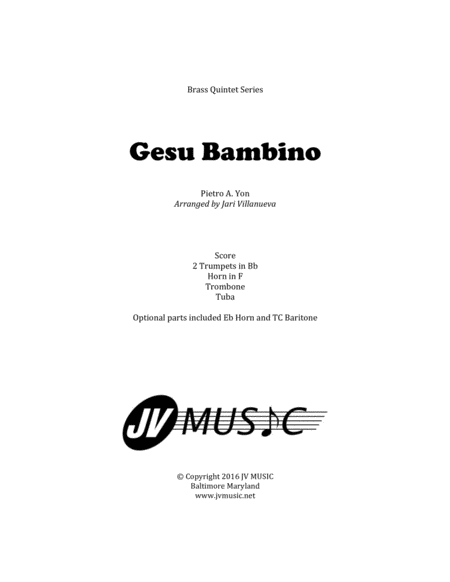 Gesu Bambino (The Infant Jesus) for Brass Quintet