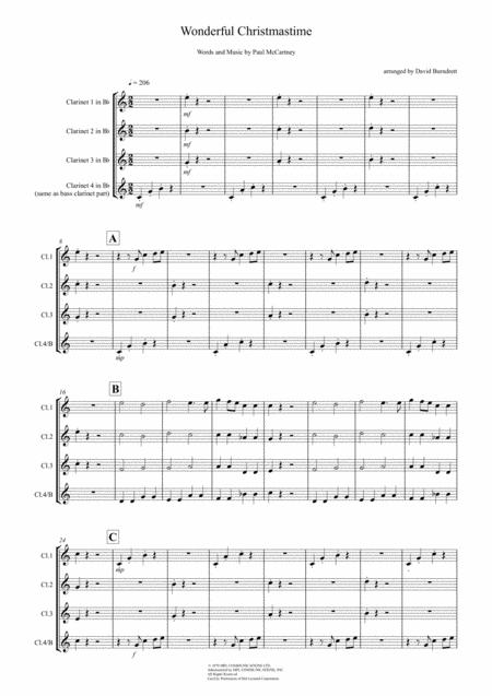 Wonderful Christmastime for Clarinet Quartet