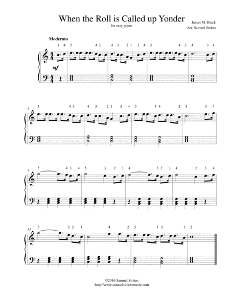 When the Roll is Called up Yonder - for easy piano