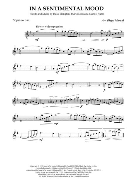 In A Sentimental Mood for Saxophone Quartet