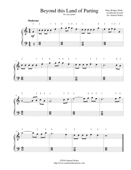 Beyond this Land of Parting - for easy piano