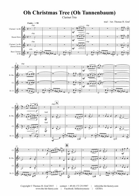 Oh Christmas tree - Oh Tannenbaum - Funky - Clarinet Trio