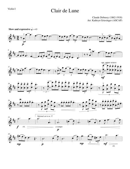 Clair de Lune (Debussy) Easy String Quartet or Quintet