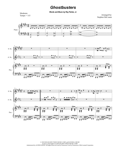 Ghostbusters (Duet for Soprano and Alto Saxophone)