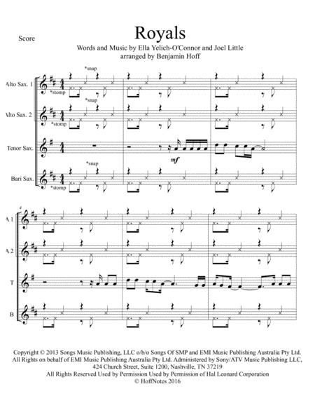 Royals for Sax Quartet