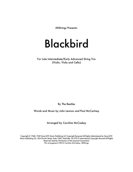 Blackbird - String Trio (Violin, Viola and Cello)