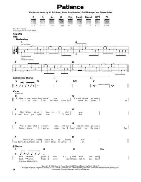 Outstanding Guns N Roses Patience Chords Pattern - Chord Sites ...