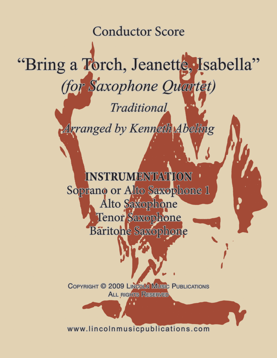 Jazz Christmas Carol - Bring a Torch Jeanette, Isabella (for Saxophone Quartet SATB or AATB)