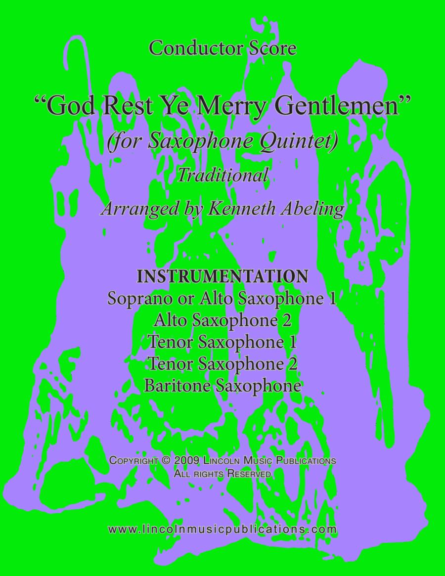 Jazz Christmas Carol - God Rest Ye Merry Gentlemen (for Saxophone Quintet SATTB or AATTB)
