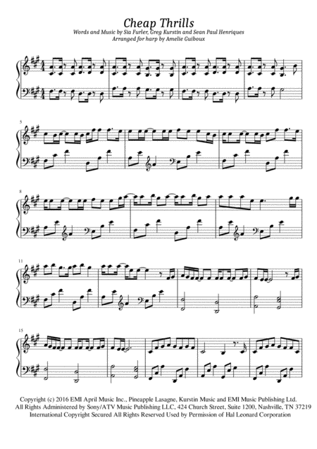 Cheap Thrills - Solo Harp Arrangement