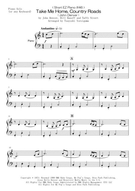< Short EZ Piano #46 > Take Me Home, Country Roads ( John Denver )