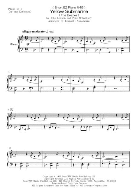 < Short EZ Piano #49 > Yellow Submarine ( The Beatles )