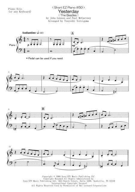 < Short EZ Piano #50 > Yesterday ( The Beatles )