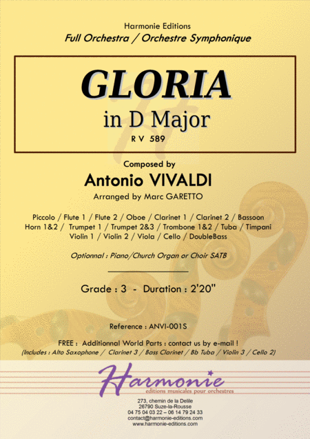 GLORIA RV 589 - Antonio VIVALDI - for Full Orchestra - Arr. Marc Garetto / Optionnal Organ and Choir