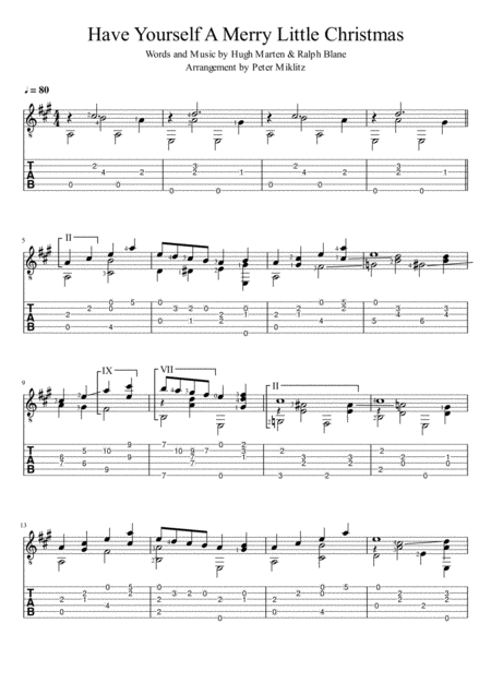 Have Yourself A Merry Little Christmas (Standard Notation and TAB)