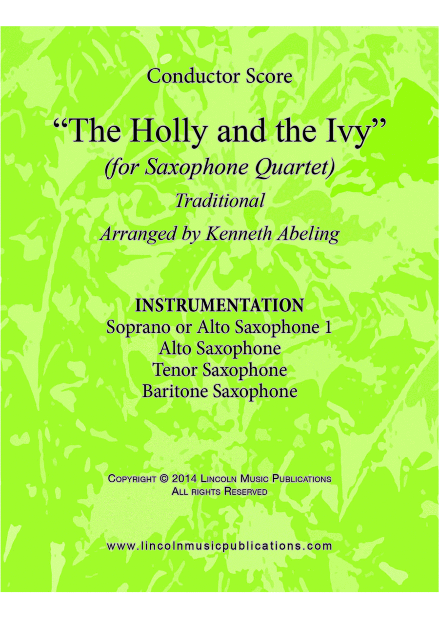 The Holly and the Ivy (for Saxophone Quartet SATB or AATB)