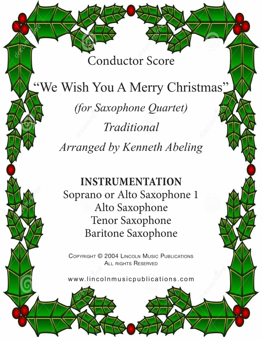 Jazz Carol - We Wish You a Merry Christmas (Saxophone Quartet SATB or AATB)