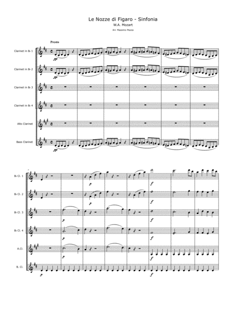 W.A. Mozart Le Nozze di Figaro (The Marriage of Figaro) SINFONIA for Clarinet Choir Conductor score