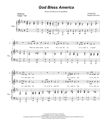 God Bless America (Duet for Soprano and Tenor Solo)