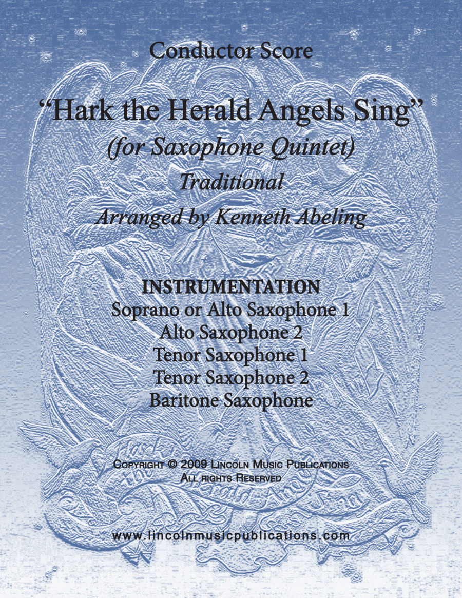 Jazz Carol - Hark! The Herald Angels Sing (for Saxophone Quintet SATTB or AATTB)
