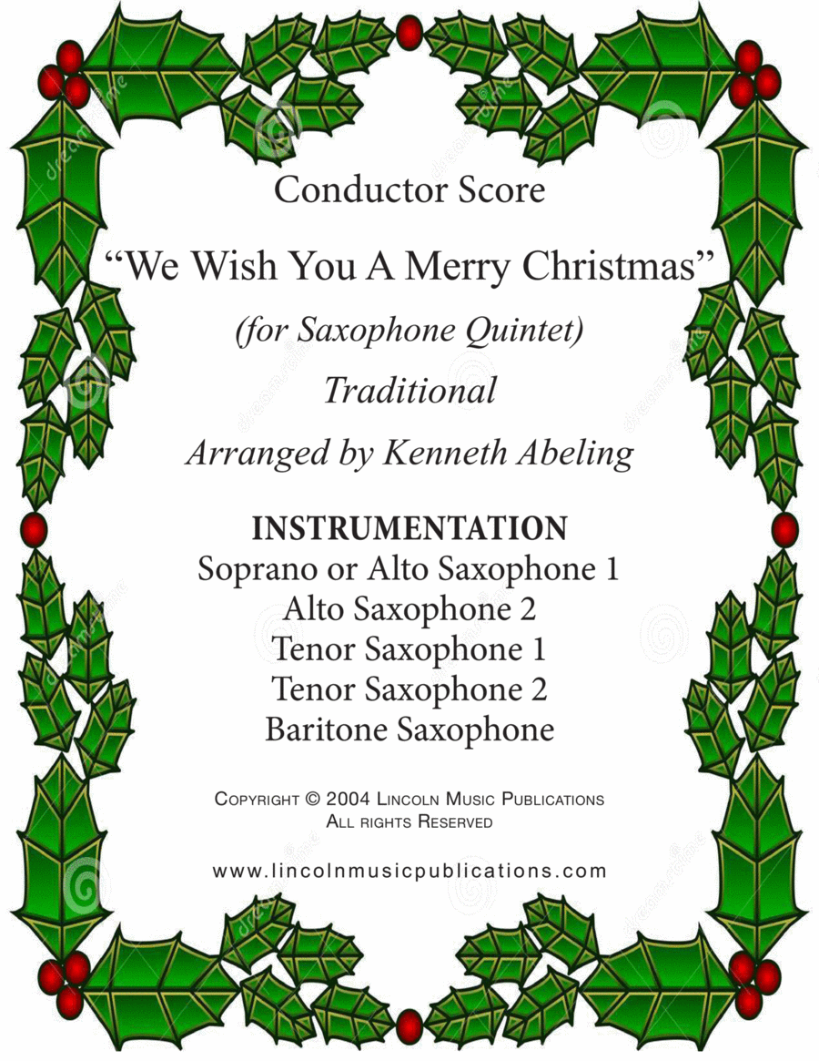 Jazz Carol - We Wish You a Merry Christmas (for Saxophone Quintet SATTB or AATTB)