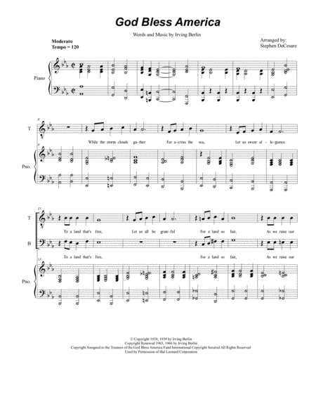 God Bless America (Duet for Tenor and Bass Solo)