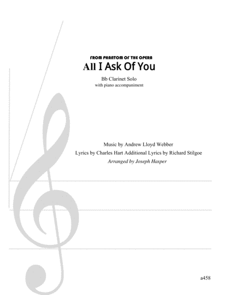 All I Ask Of You (Clarinet and Piano)