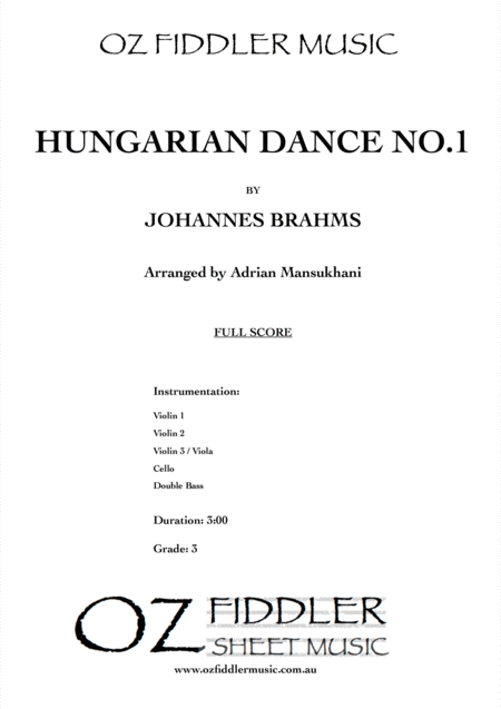Hungarian Dance no.1, by Johannes Brahms, arranged for String Orchestra